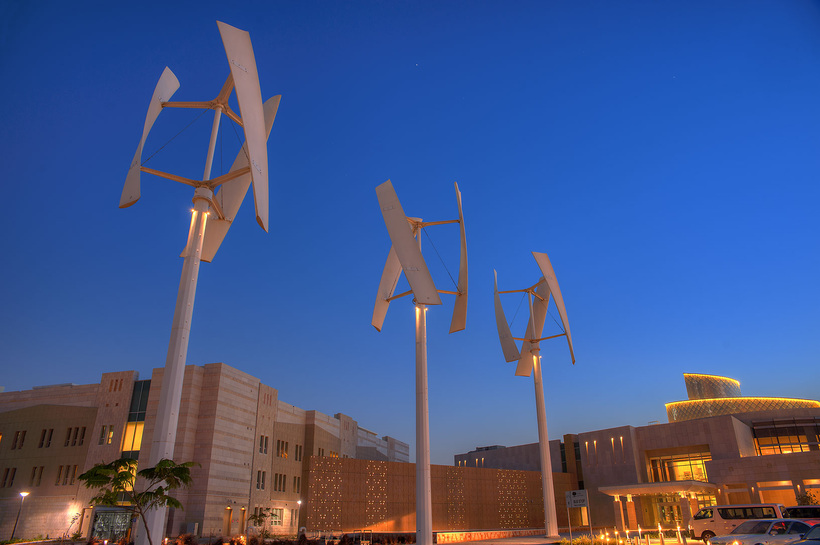 Wind turbines near new Student Center on campus of Education City. Doha, Qatar