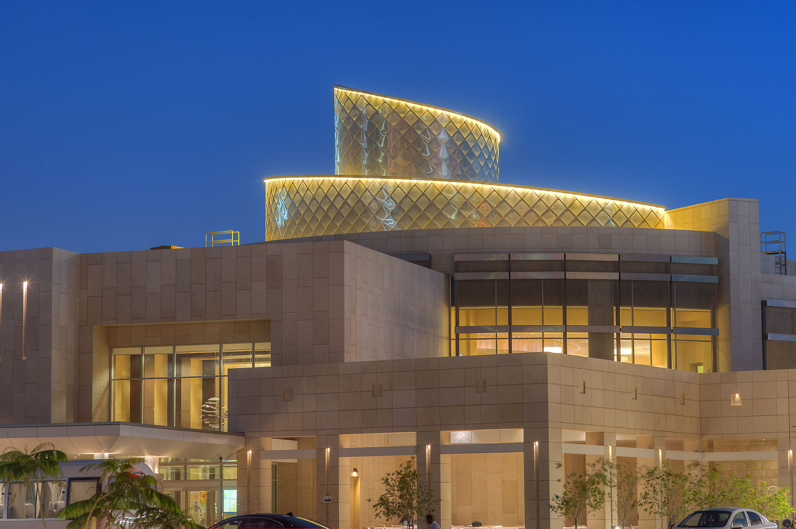 Atrium with a spiral structure of a new Student...Education City at evening. Doha, Qatar