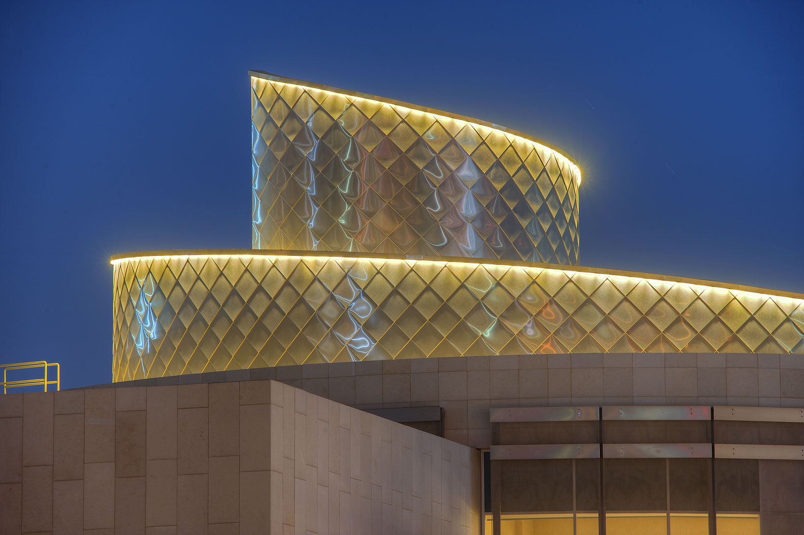 Close up of a spiral structure of a new Student...Education City at evening. Doha, Qatar