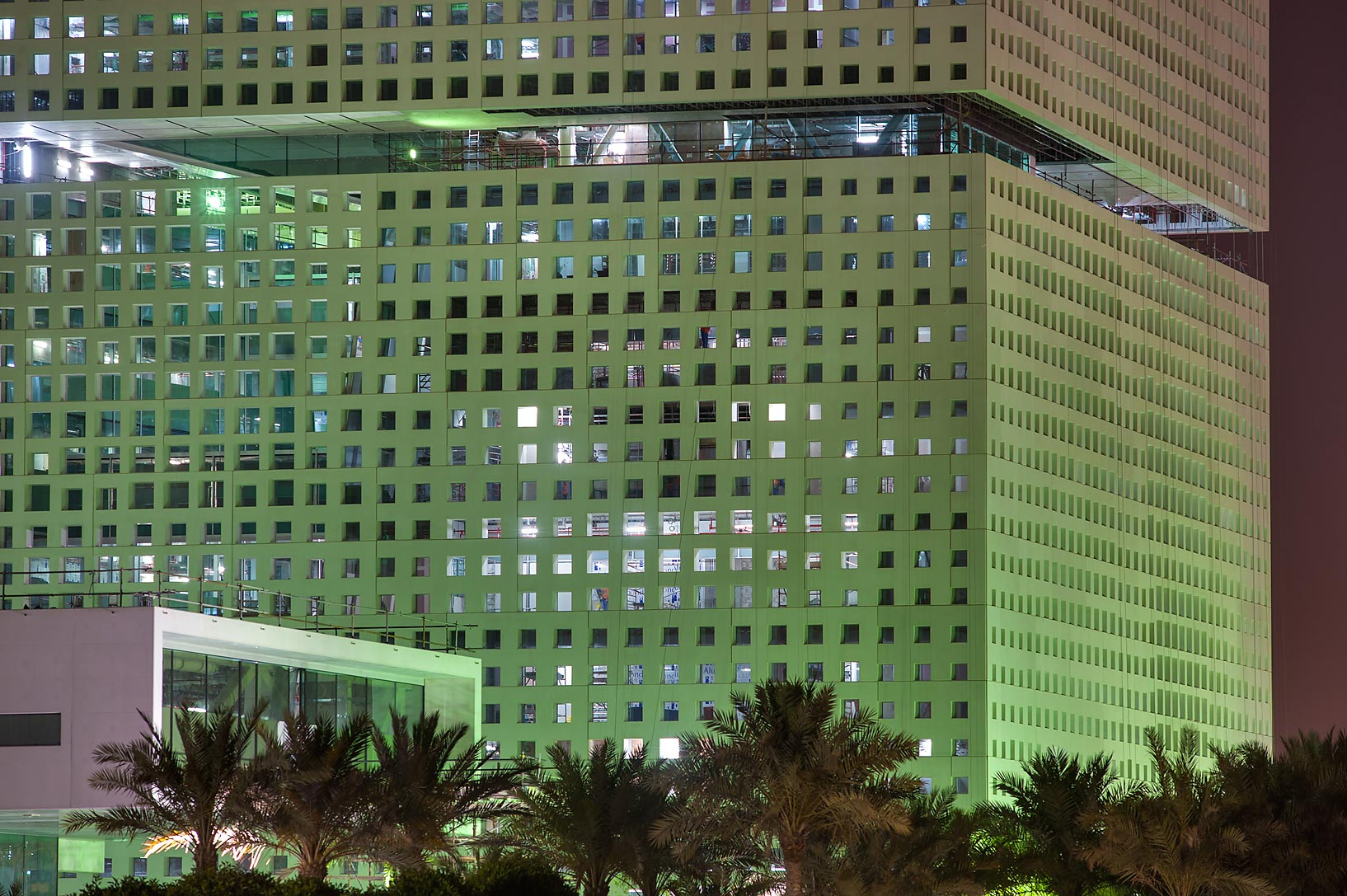 New Administration Building on campus of Education City at evening. Doha, Qatar