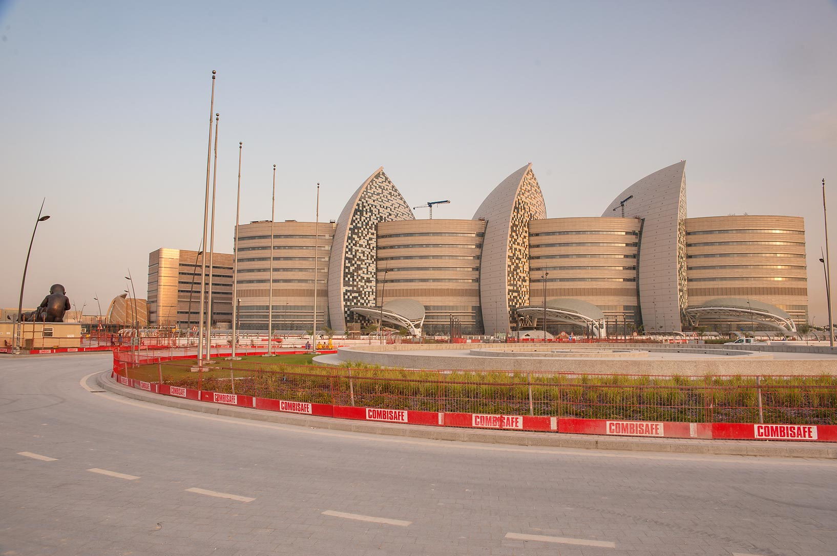 Sidra Medical and Research Center from Slope Roundabout. Doha, Qatar