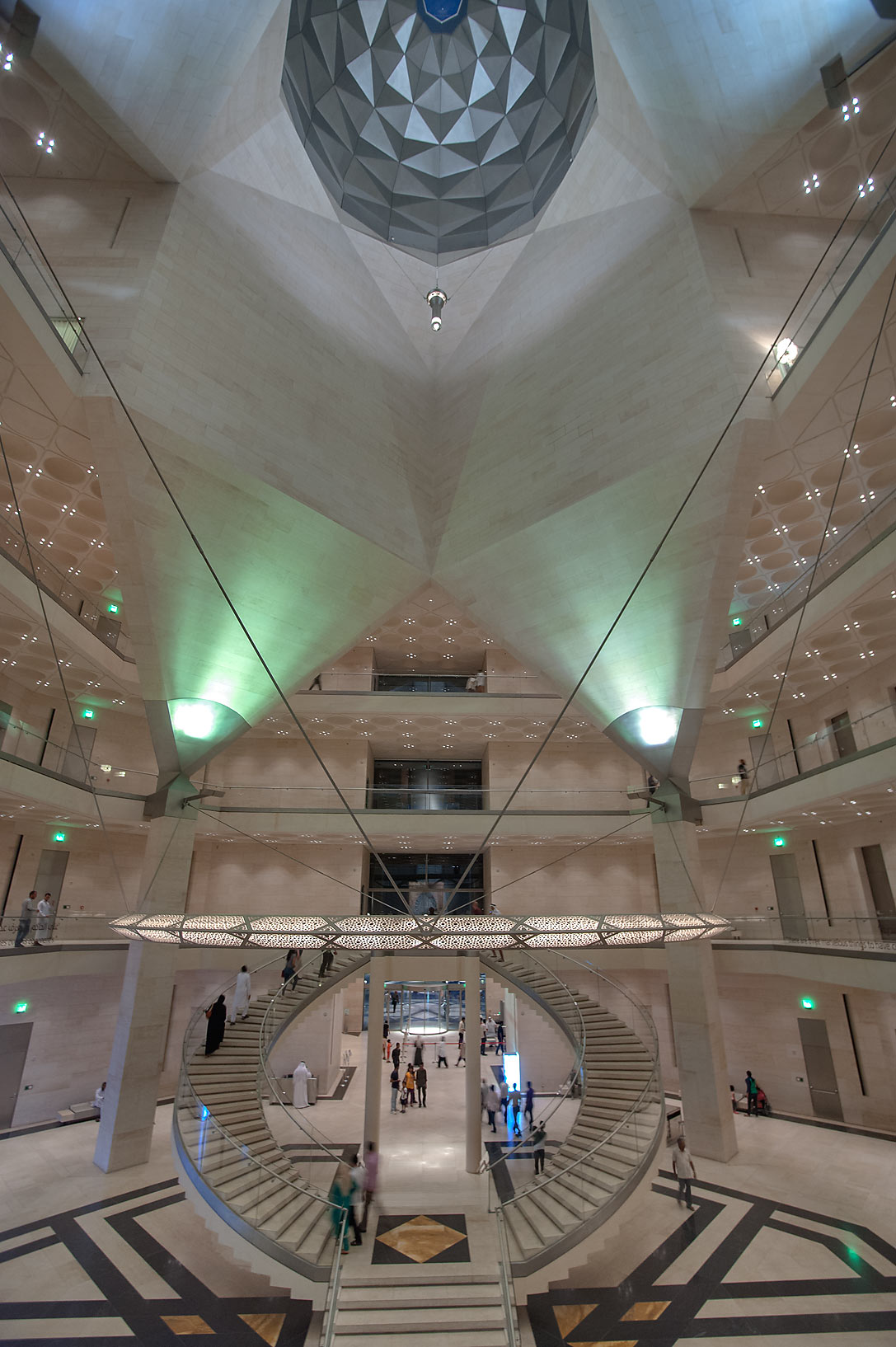 Wide angle view of interior of Museum of Islamic Art. Doha, Qatar