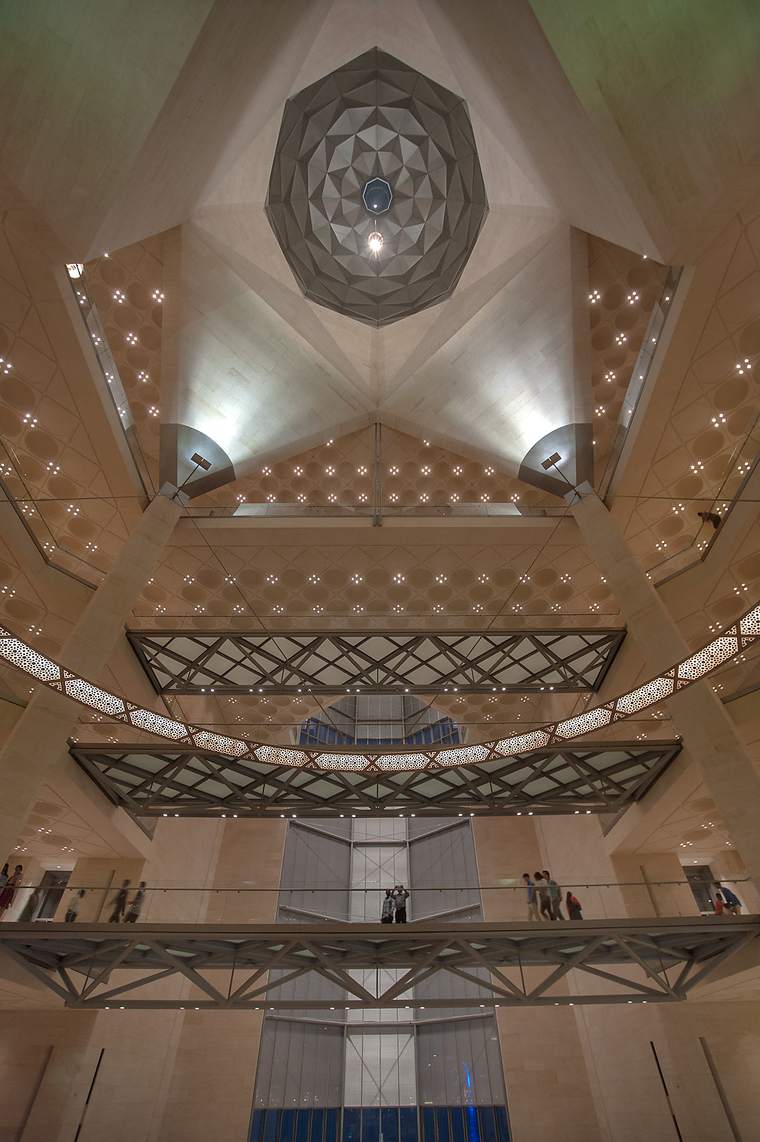 Wide angle view from grand staircase of Museum of Islamic Art. Doha, Qatar