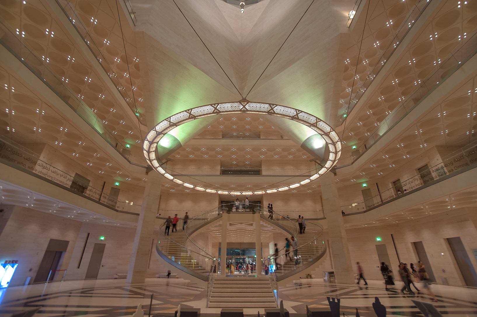 Wide angle view of perforated chandelier and...of Museum of Islamic Art. Doha, Qatar