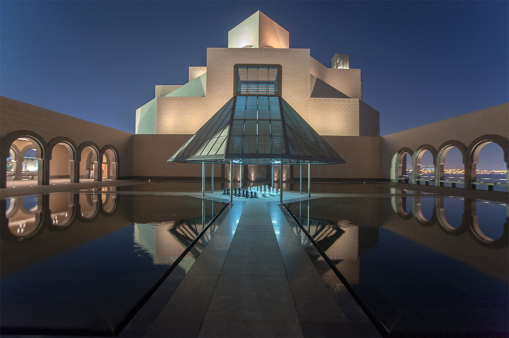 Passage of fountain courtyard of Museum of Islamic Art. Doha, Qatar