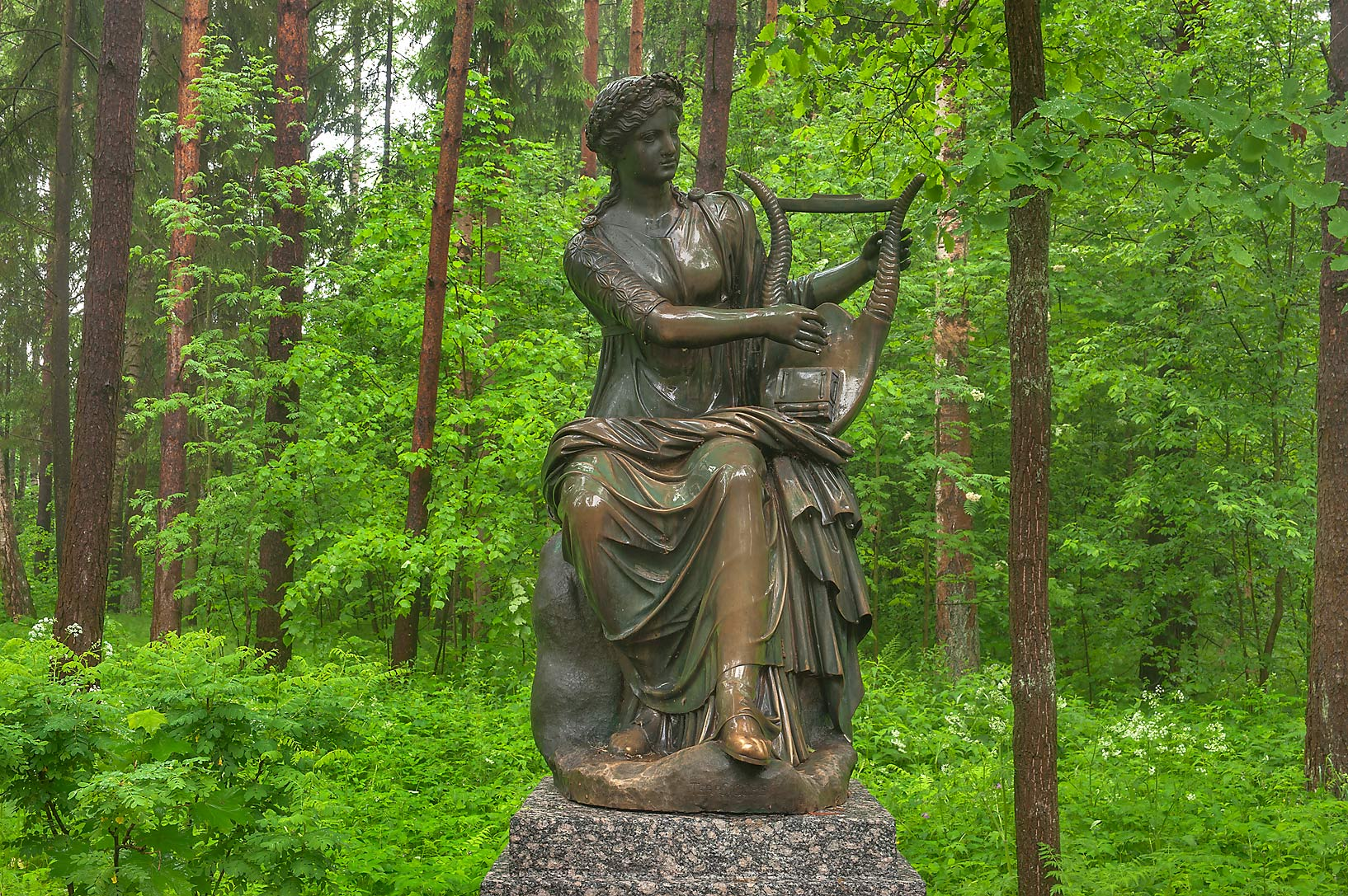 Sculpture of Terpsichore with a harp (muse of...suburb of St.Petersburg, Russia