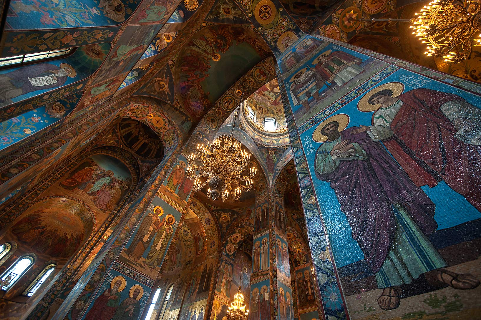 Mosaic of pillars of Church of Savior on Blood. St.Petersburg, Russia