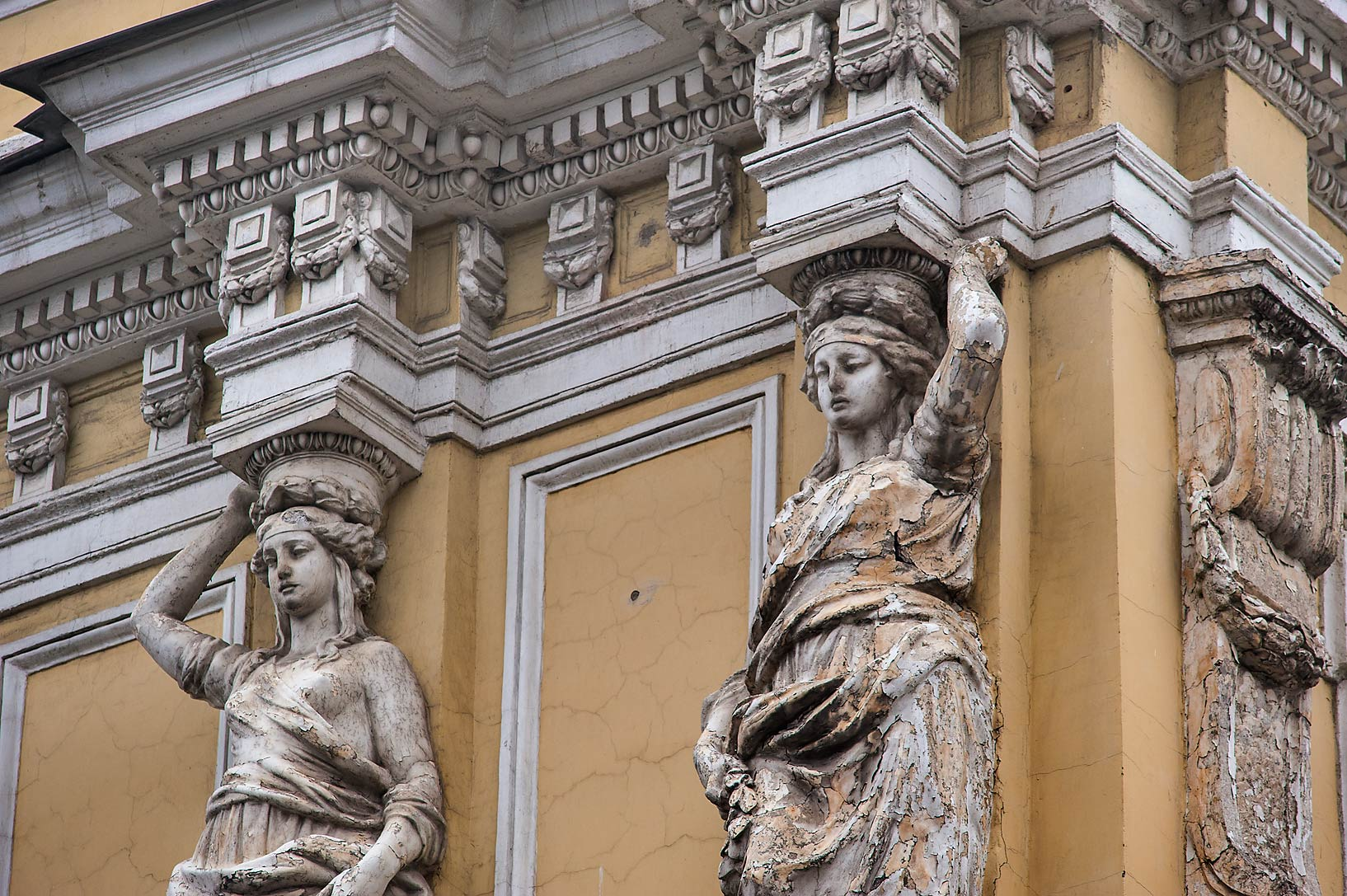 Caryatids of the building of 4th Central Research...Embankment. St.Petersburg, Russia