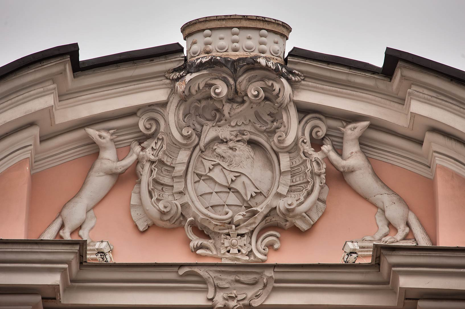 Heraldic decoration at 20 Nevsky Prospect. St.Petersburg, Russia