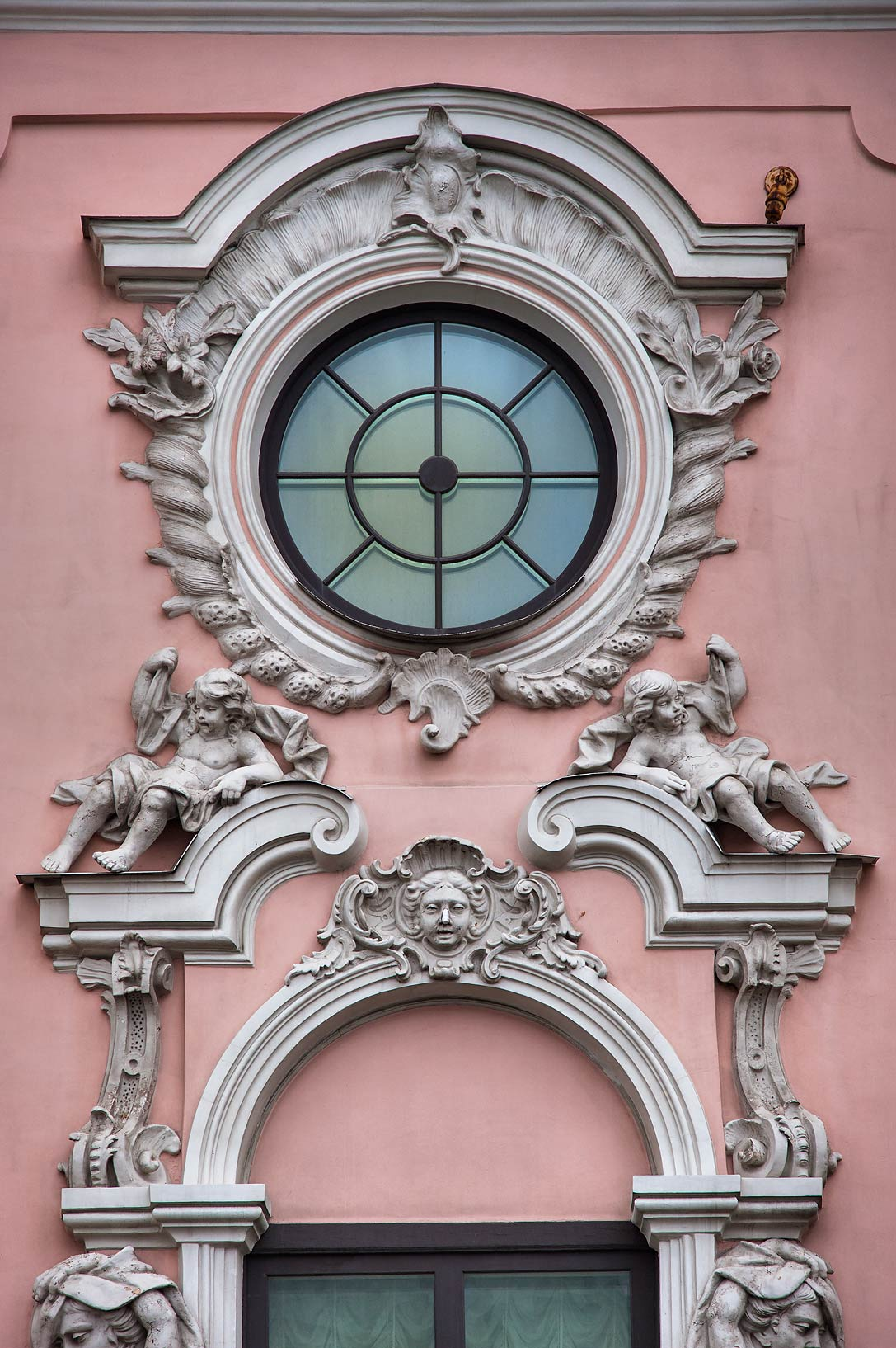 Window decorations at 20 Nevsky Prospect. St.Petersburg, Russia