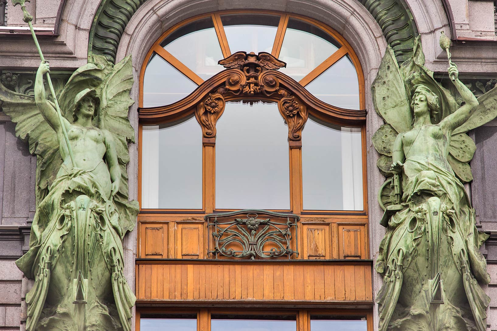 Window of Singer House at Nevsky Prospect. St.Petersburg, Russia