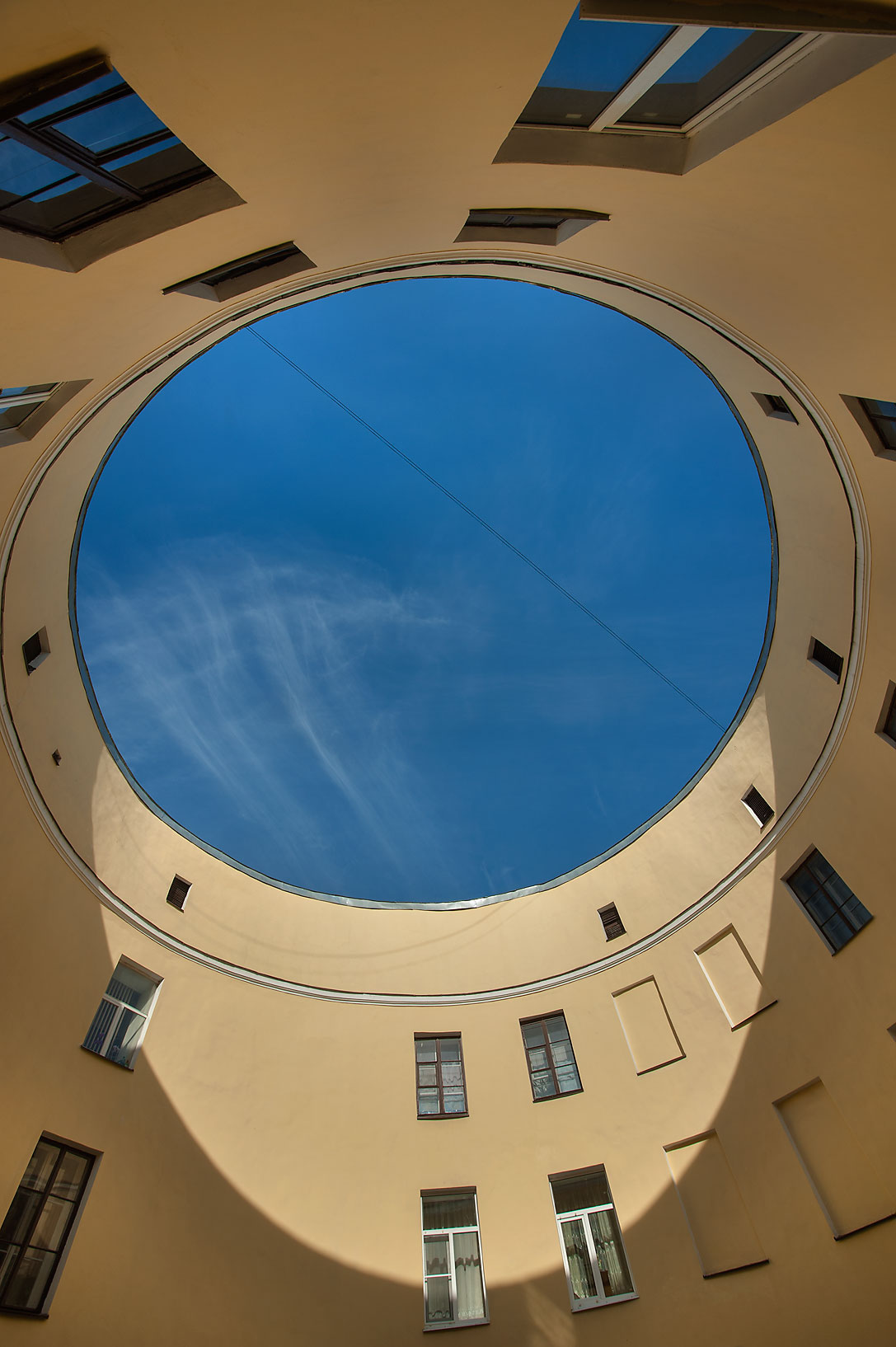 Round courtyard of Ustinov-Petrov House at 92...Embankment. St.Petersburg, Russia