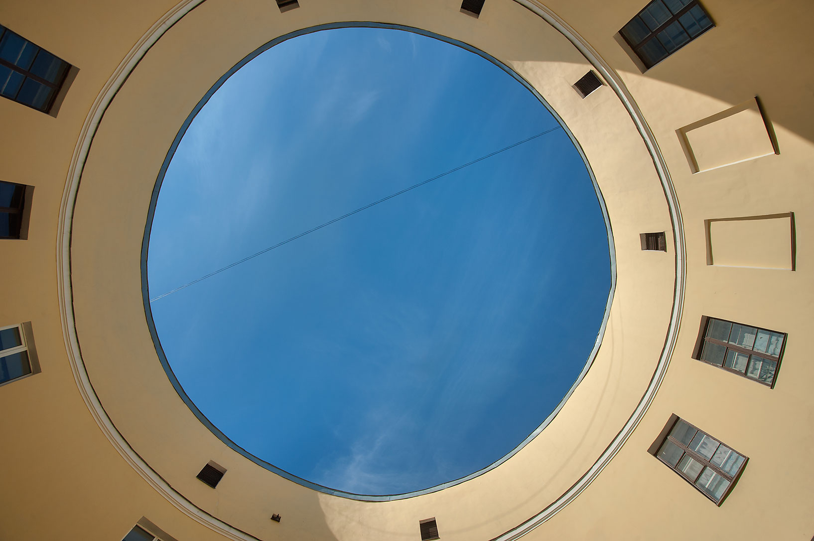 Round courtyard of Ustinov-Petrov House at 92...looking up. St.Petersburg, Russia