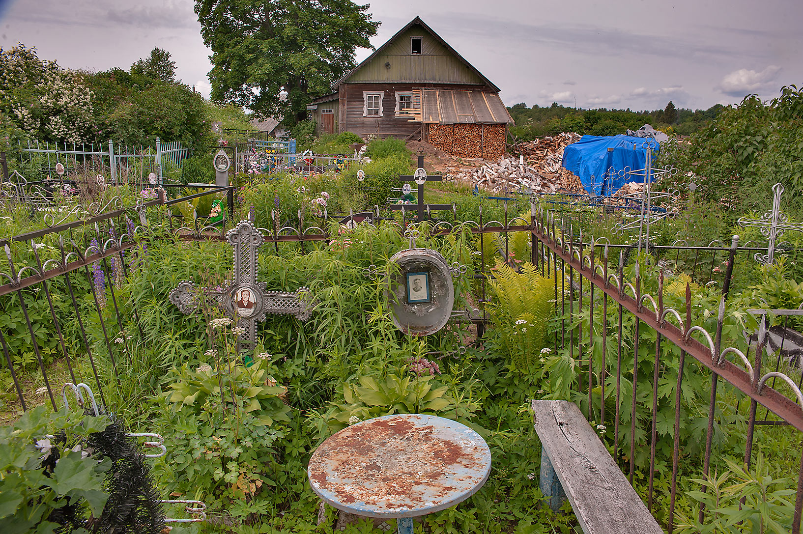 Cemetery in Gorodets north from Luga, Leningrad Region. Russia
