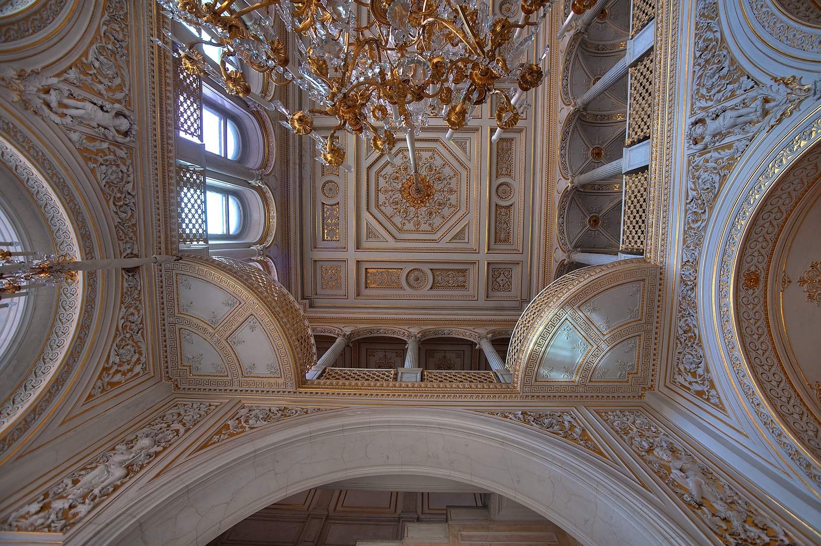Ceiling of Pavilion Hall in Hermitage Museum. St.Petersburg, Russia