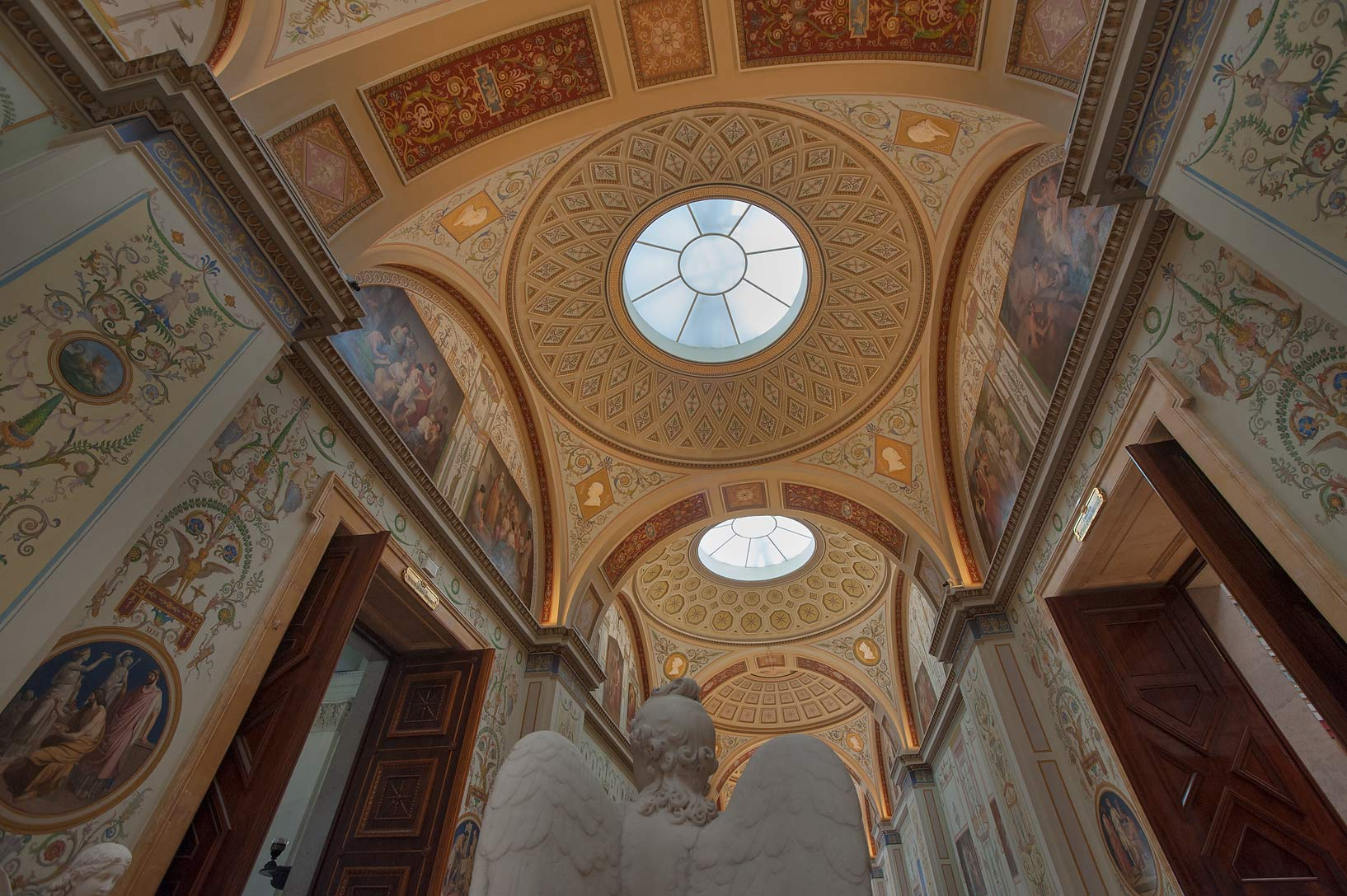 Arched ceiling of Gallery of Ancient Painting in Hermitage Museum. St.Petersburg, Russia