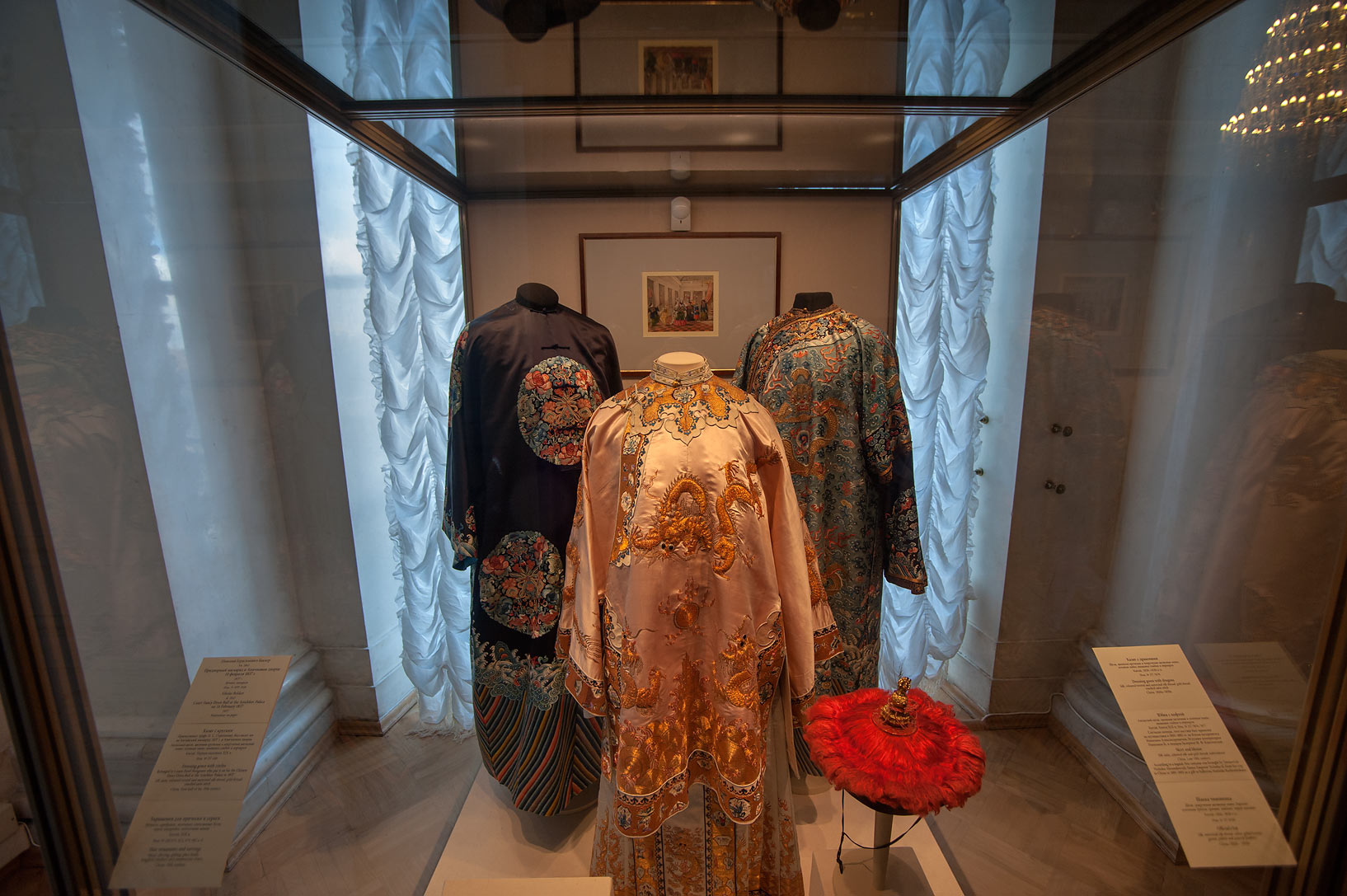 Exhibition of traditional Russian dress in Hermitage Museum. St.Petersburg, Russia