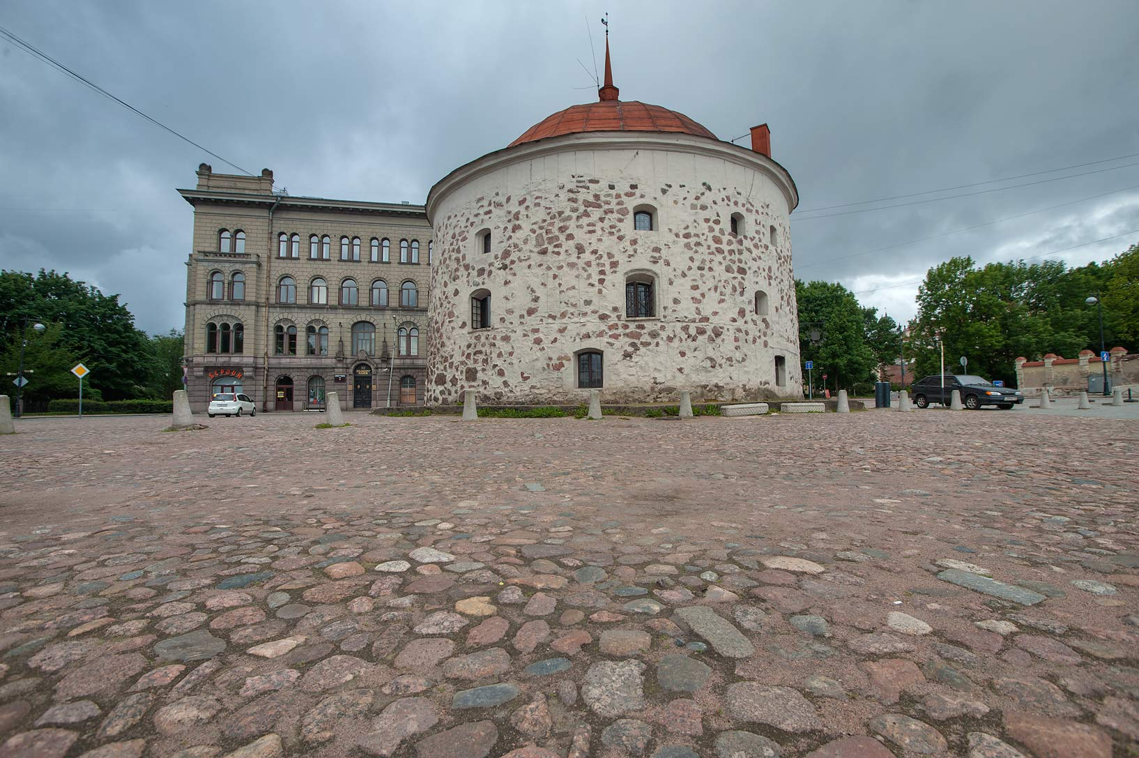 Round tower at Pionerskaya St.. Vyborg, Russia