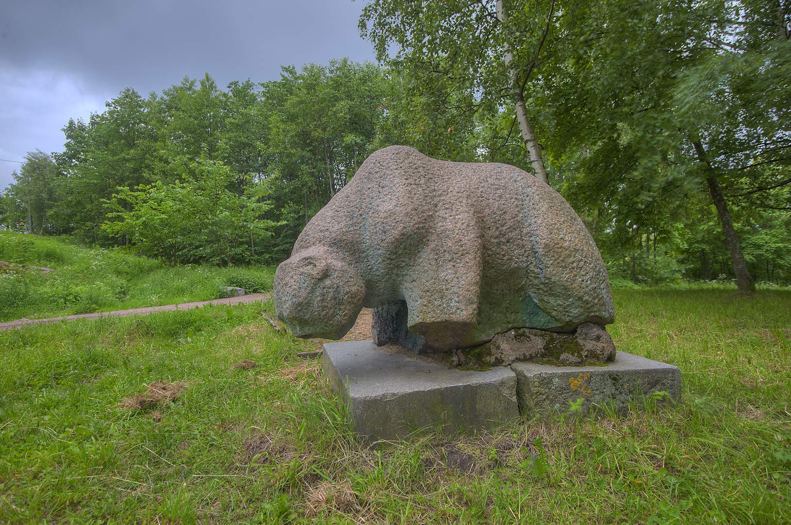 One of granite bears from a demolished train...Intendantsky Proezd. Vyborg, Russia