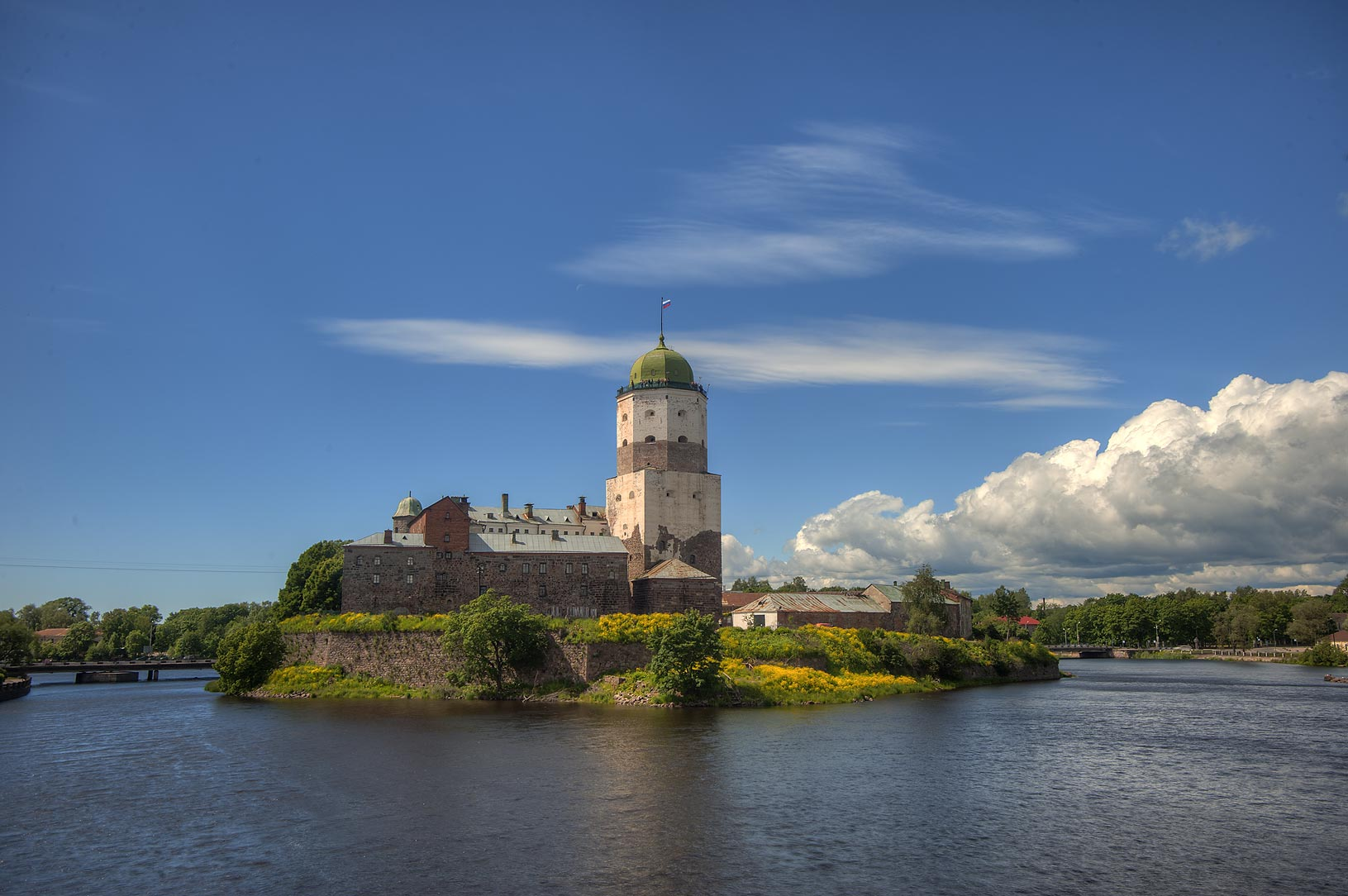 Vyborg Castle with St.Olaf Tower from Petrovsky Bridge. Vyborg, Russia