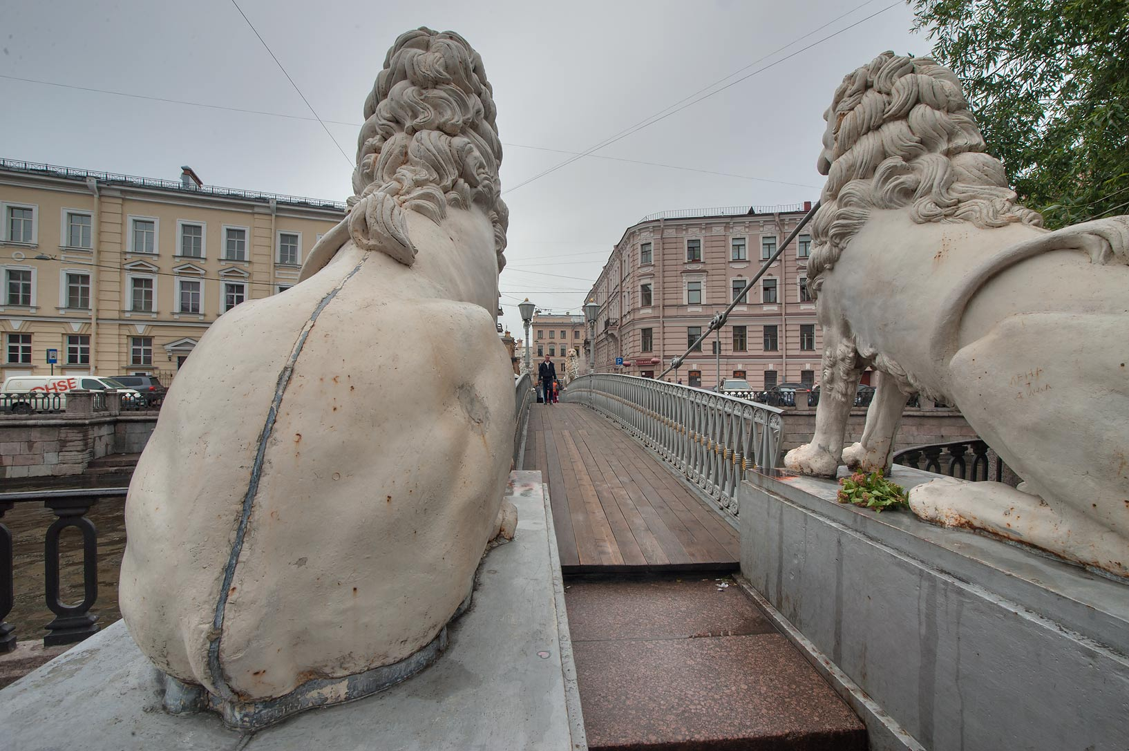 Backs of Gryphon of Lion's Bridge of Griboedov Canal. St.Petersburg, Russia