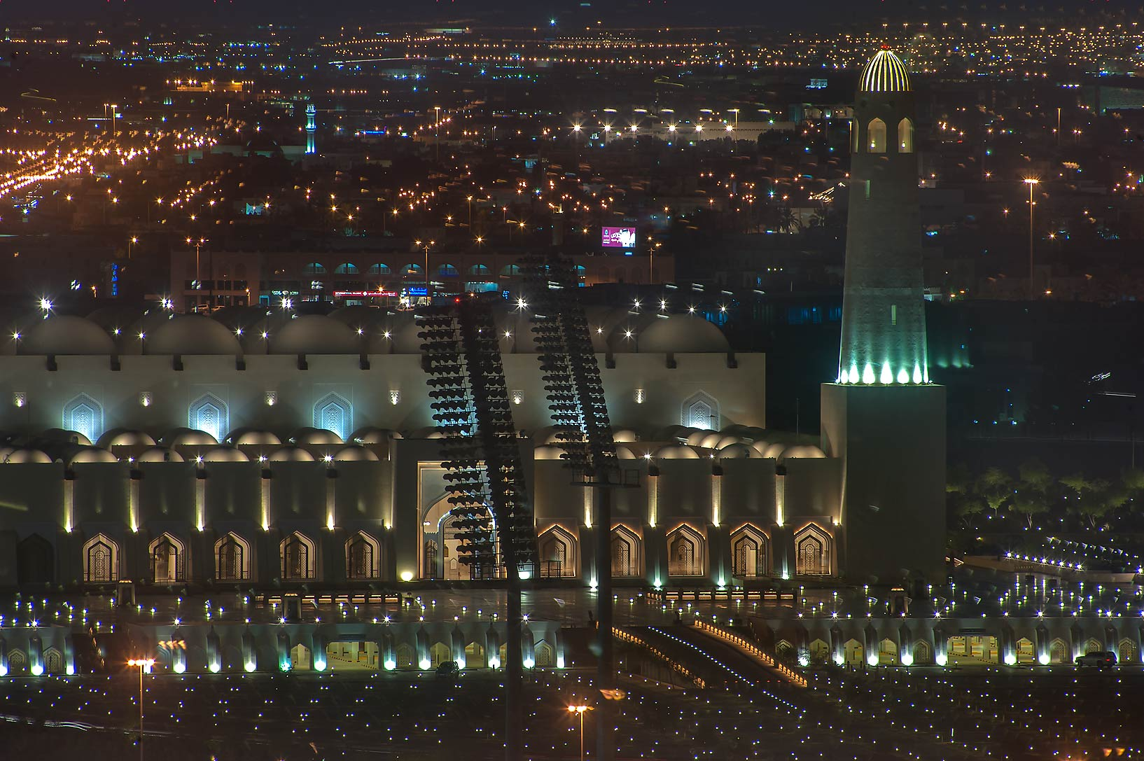 Wahhab (State) Mosque west from Ezdan Hotel in...a window of Room 1-2244. Doha, Qatar