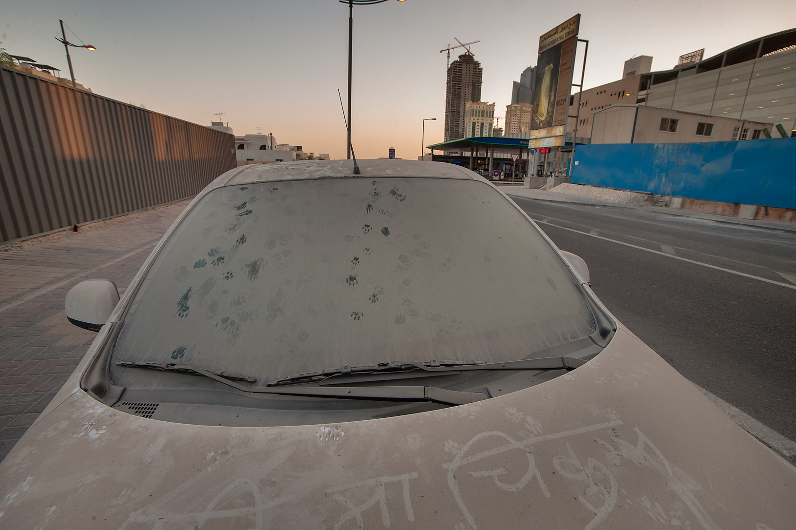 Cat's tracks at morning on a windshield of a car...Ezdan Hotel in West Bay. Doha, Qatar