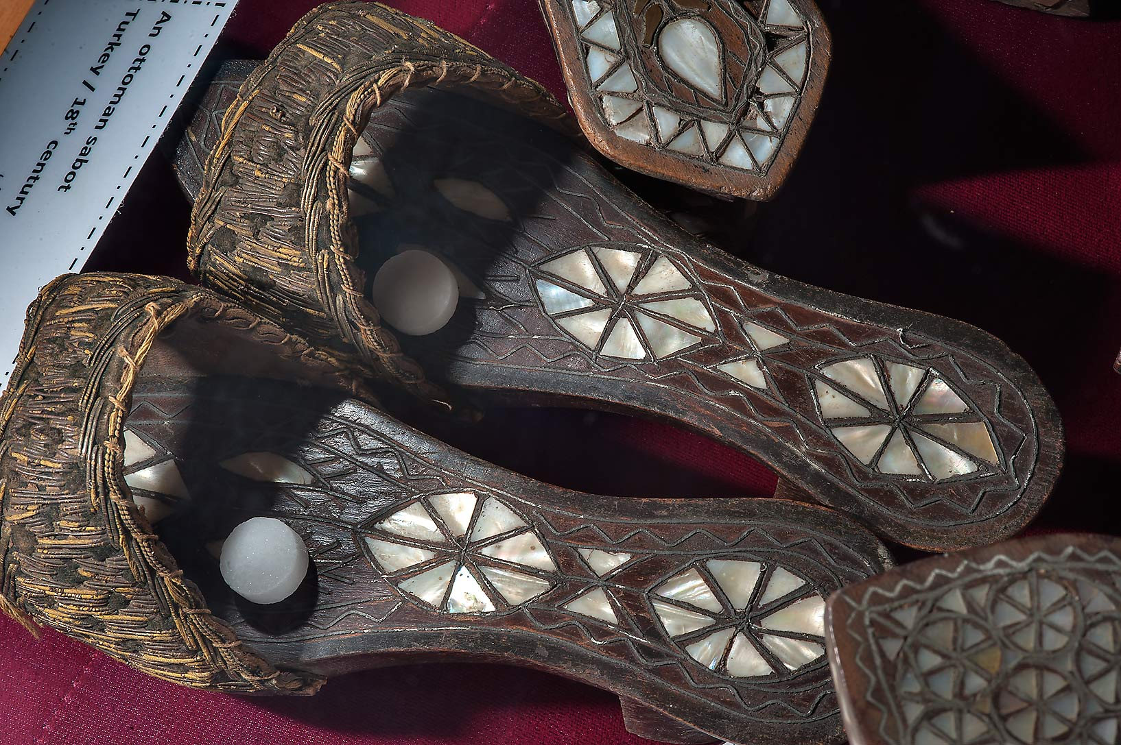 Ottoman sabot slippers decorated by mother-of...Thani Museum near Al-Shahaniya. Qatar