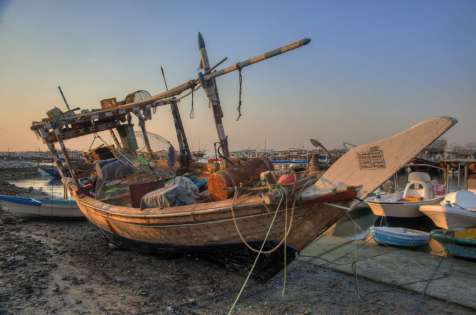 Dhow fishing boat in a port. Al Wakra, Qatar