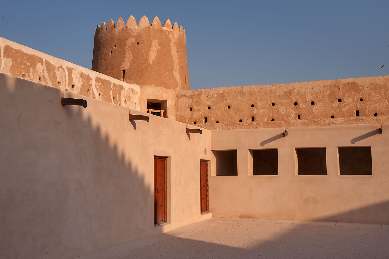 Yard inside Zubara Fort at sunrise. Northern Qatar