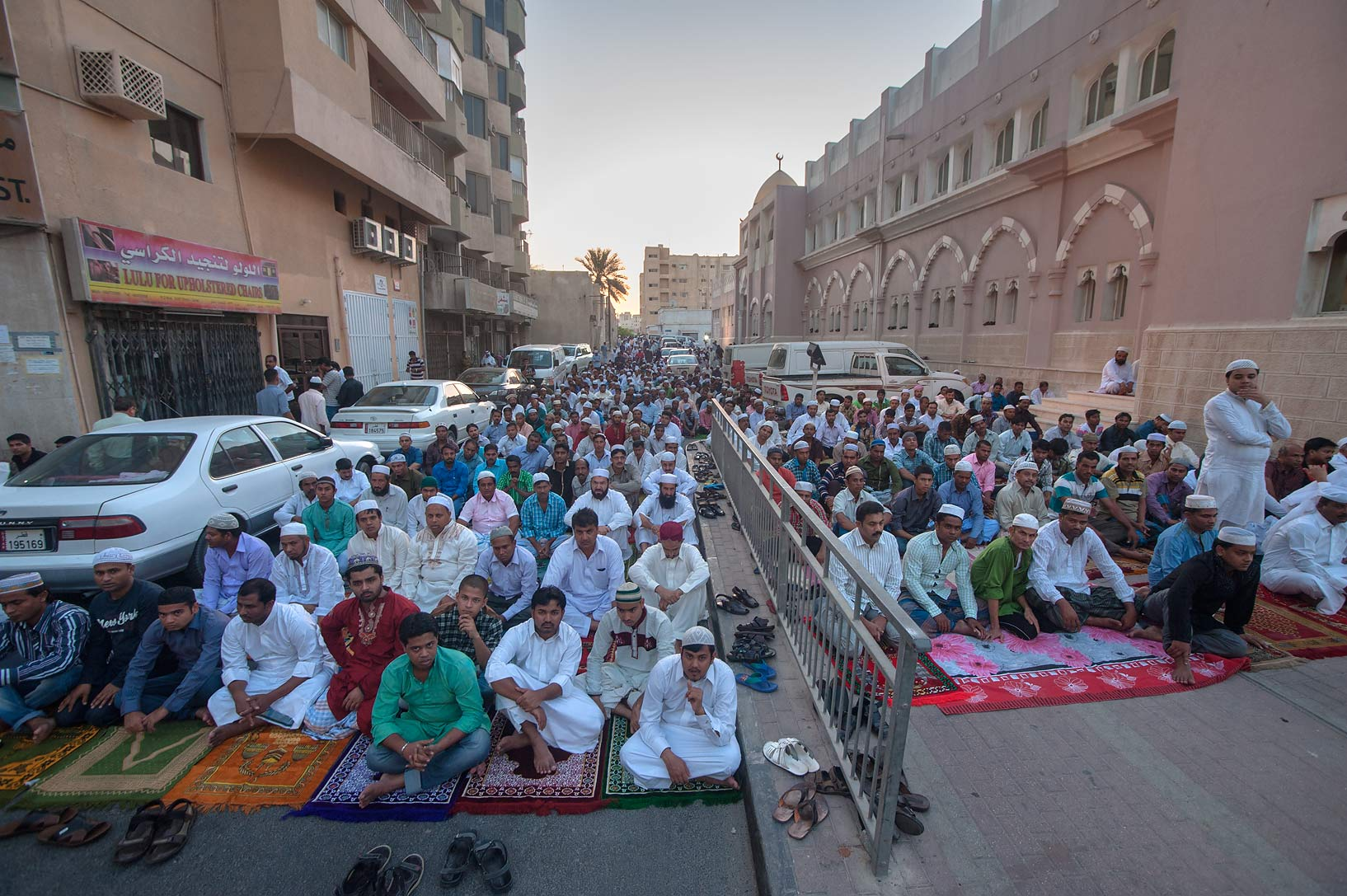 People gathering for Eid al-Adha prayer near Al...masjid) in Musheirib area. Doha, Qatar