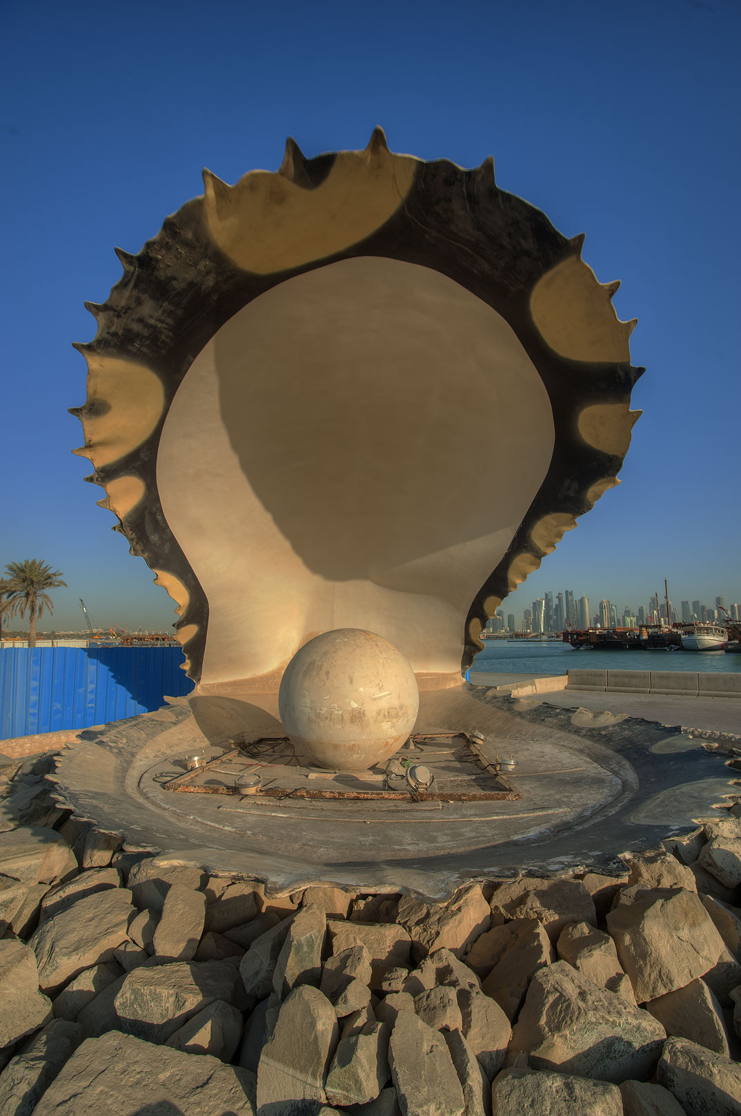 Oyster and Pearl Fountain on Corniche at morning. Doha, Qatar