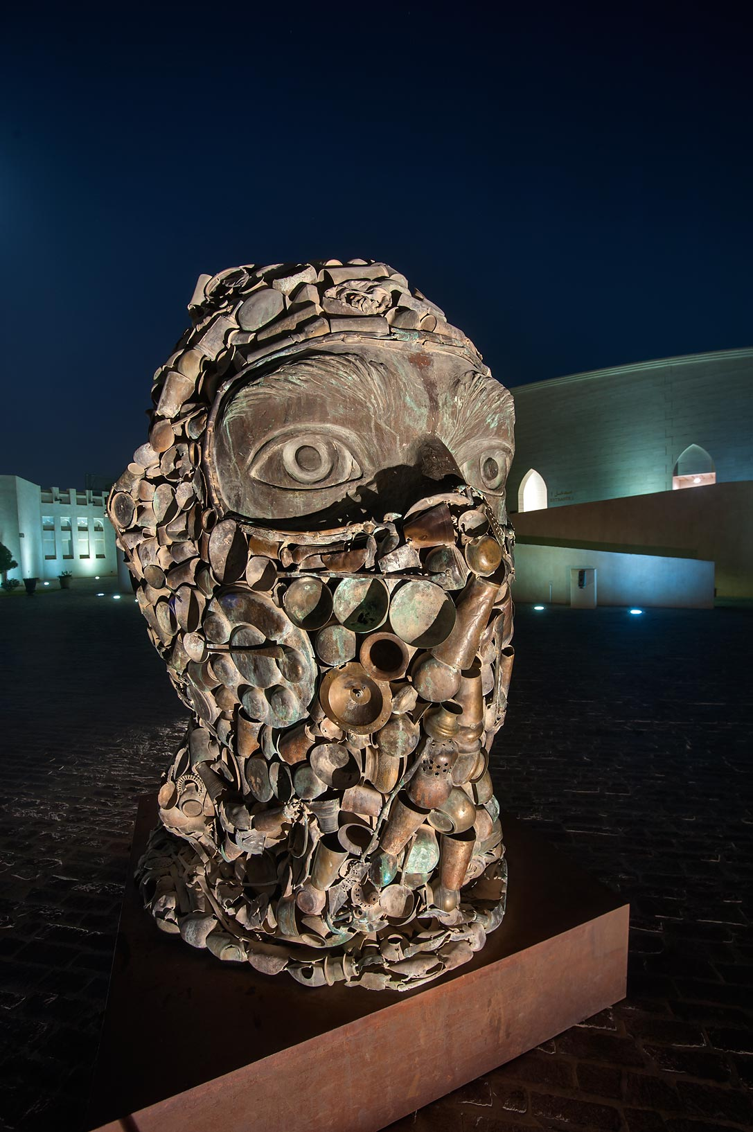 Subodh Gupta's Three Monkeys Sculpture (terrorist...Katara Cultural Village. Doha, Qatar