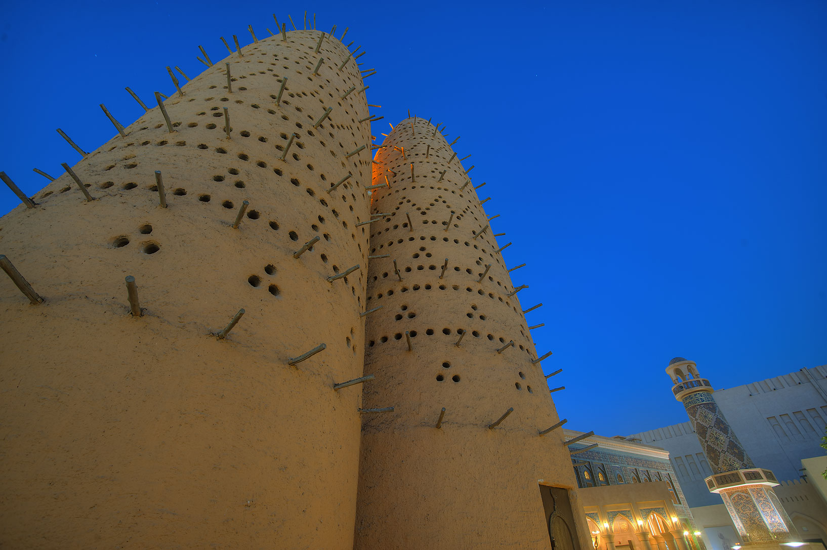 Dovecots and Iranian style mosque in Katara Cultural Village. Doha, Qatar
