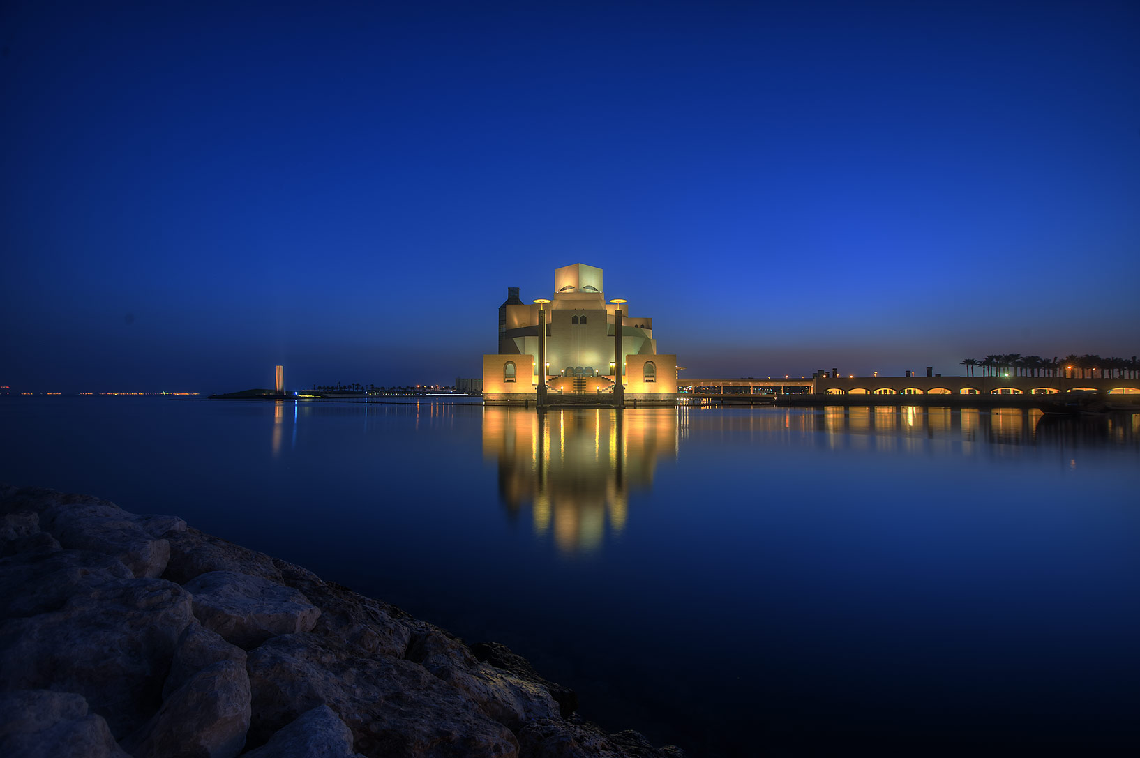 Museum of Islamic Art from a boat pier at morning. Doha, Qatar