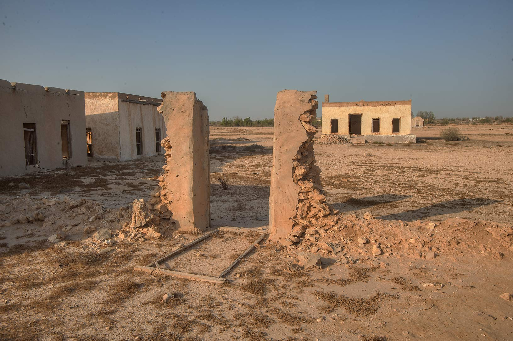 Remains of an old village in area of Ras Laffan Farms. Northern Qatar