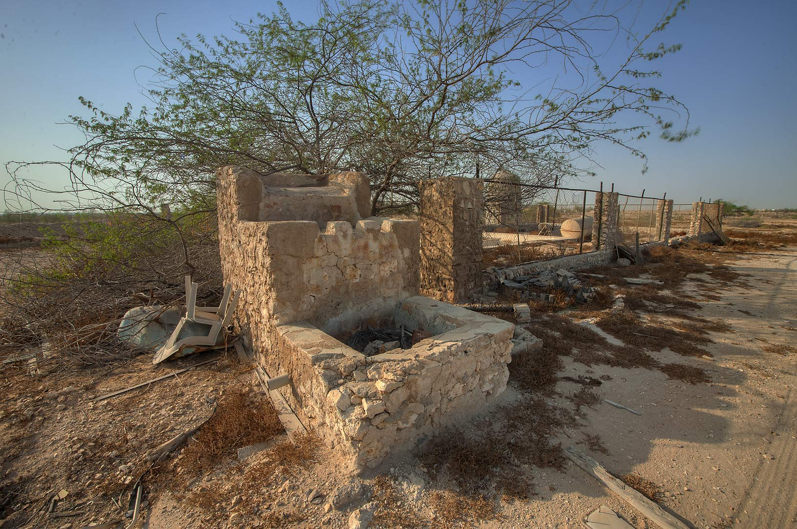 Water fountain made as a stone cascade in a...of Ras Laffan Farms. Northern Qatar