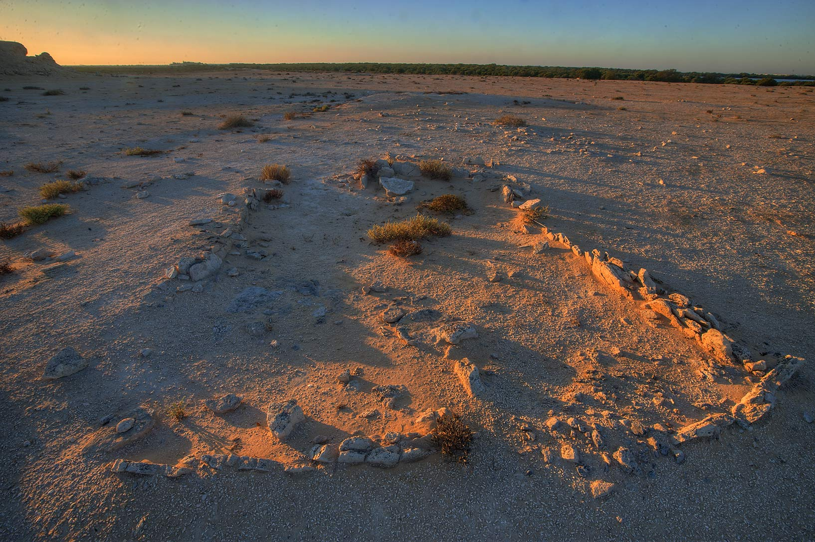 Archeological excavations on Purple Island (Jazirat Bin Ghanim) at sunrise. Al Khor, Qatar