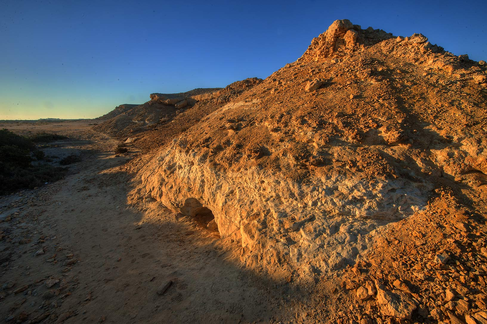 Limestone hill on Purple Island (Jazirat Bin Ghanim). Al Khor, Qatar