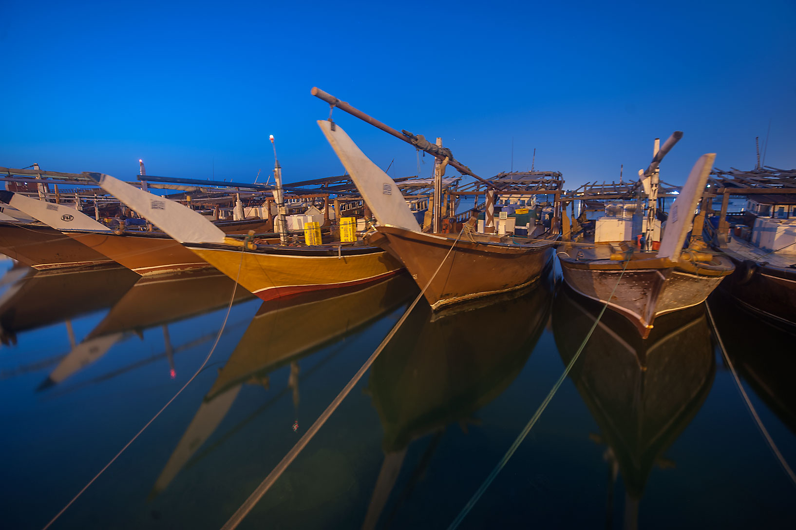 Dhow fishing boats, view from a pier in Al Wakra. Qatar