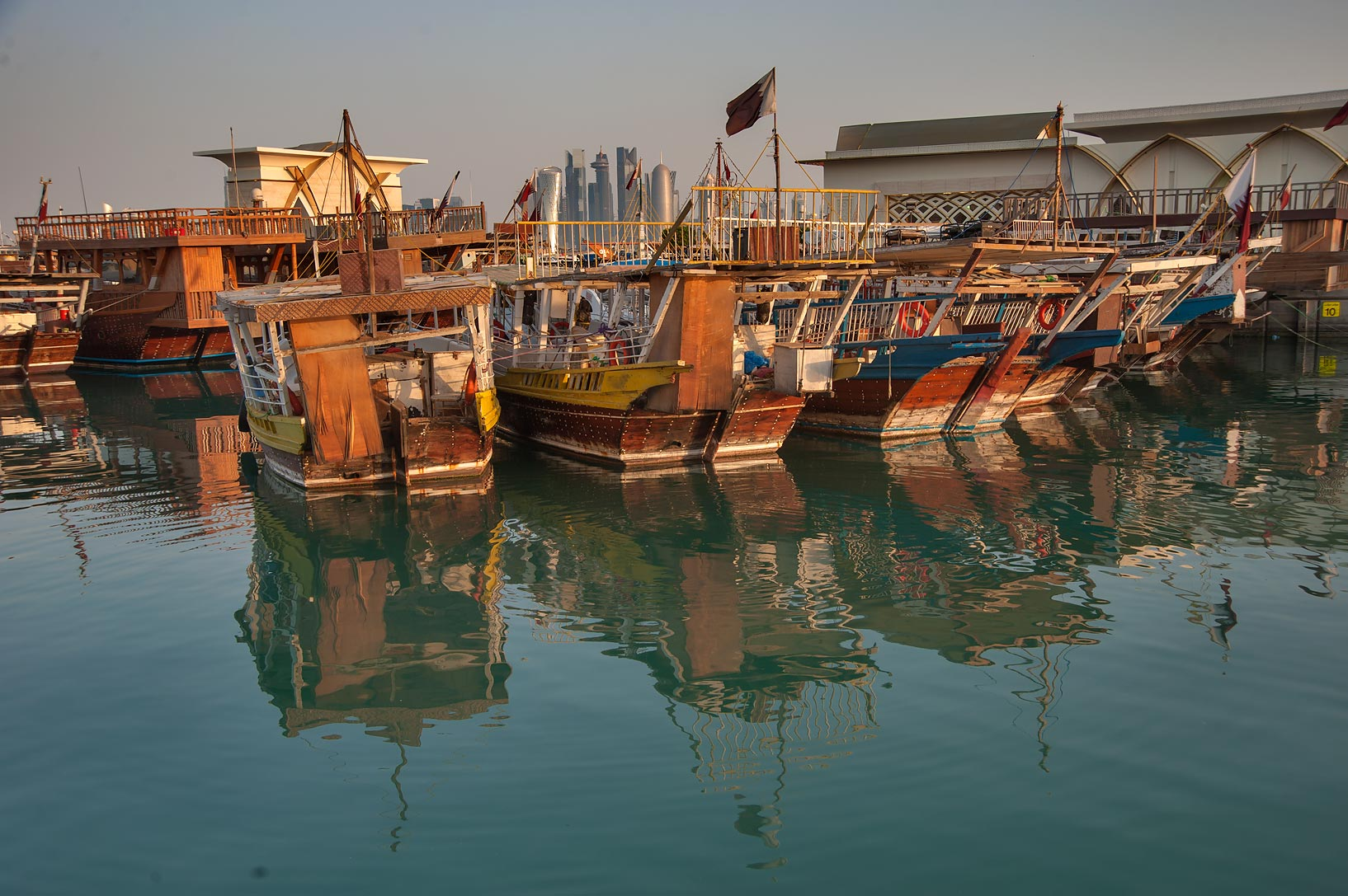 Dhow fishing boats, view from Corniche. Doha, Qatar
