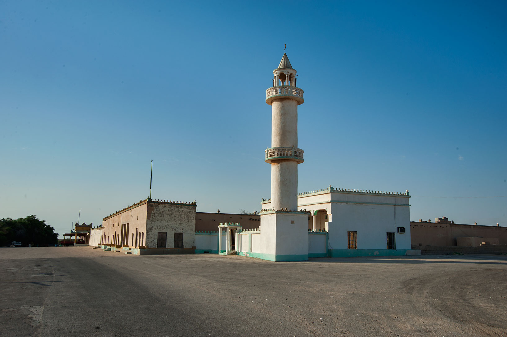 Mosque at the entrance of Trainah. Southern Qatar