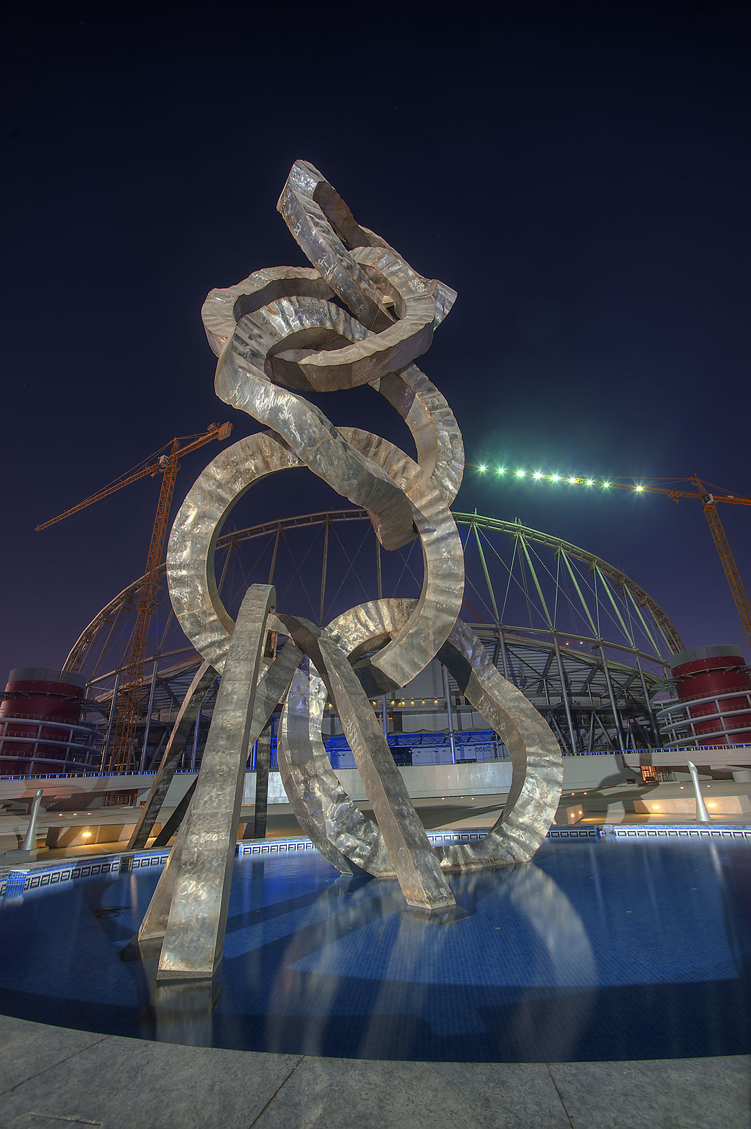 Olympic rings sculpture by Ahmed Al Bahrani in Aspire Zone. Doha, Qatar