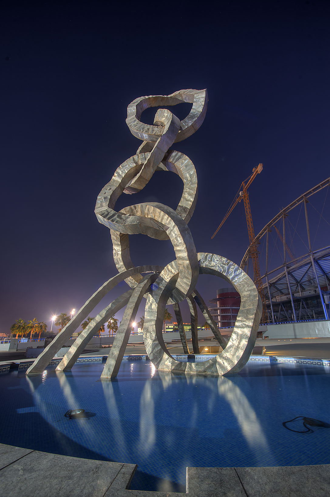 Olympic rings sculpture in Aspire Zone. Doha, Qatar