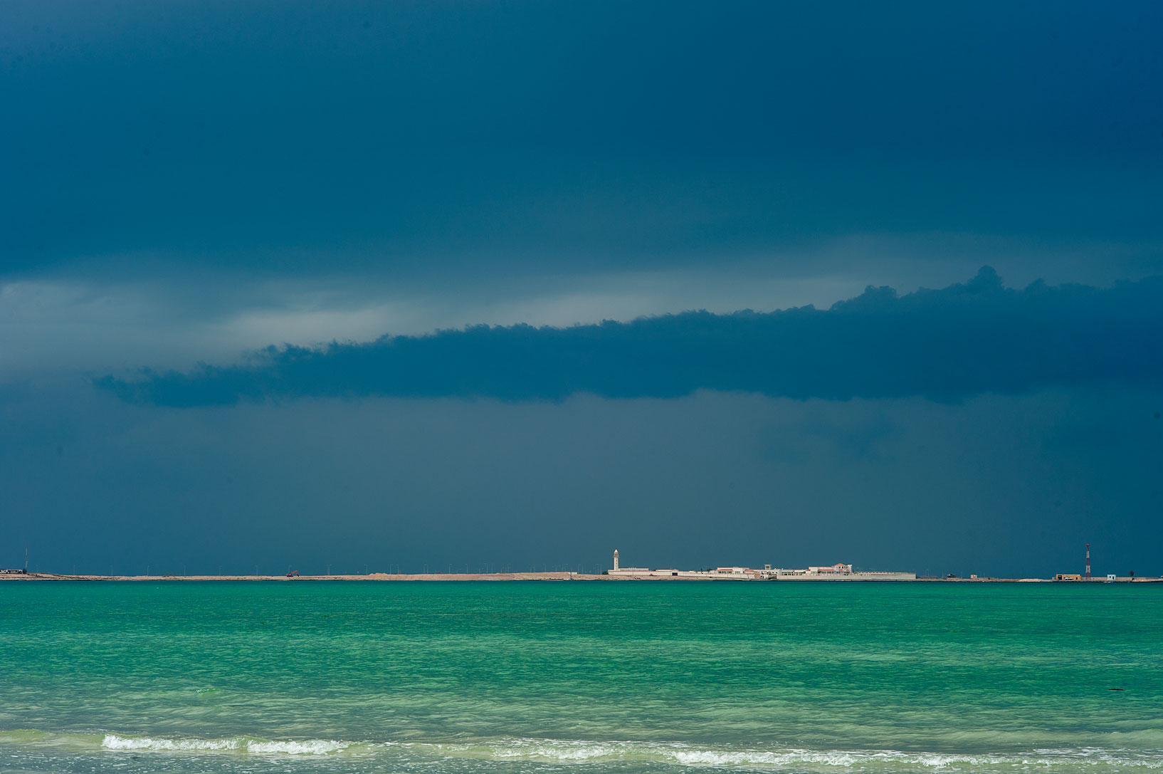 Thunderstorm clouds from a beach of Zubara archeological site. Northern Qatar