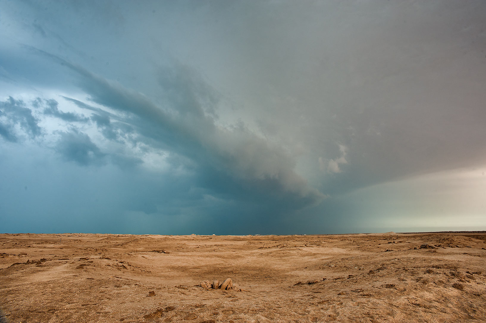 Approaching cold front over Zubara archeological site. Northern Qatar
