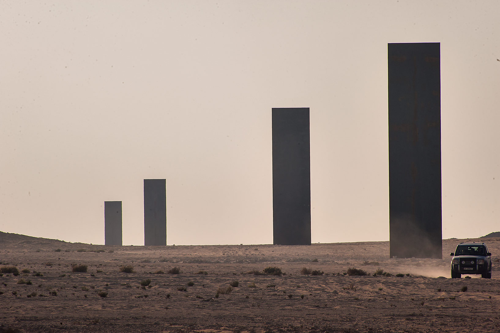 Steel plates Richard Serra's sculpture, East-West...Reserve on Ras Abrouq Peninsula. Qatar