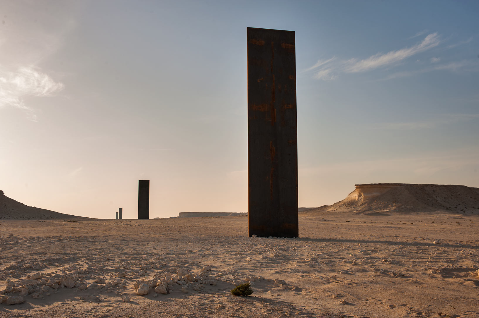 Richard Serra's sculpture, East-West/West-East in...Reserve on Ras Abrouq Peninsula. Qatar
