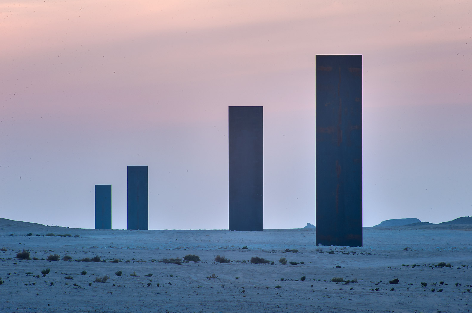 Richard Serra's sculpture, East-West/West-East on...Abrouq Peninsula, after sunset. Qatar