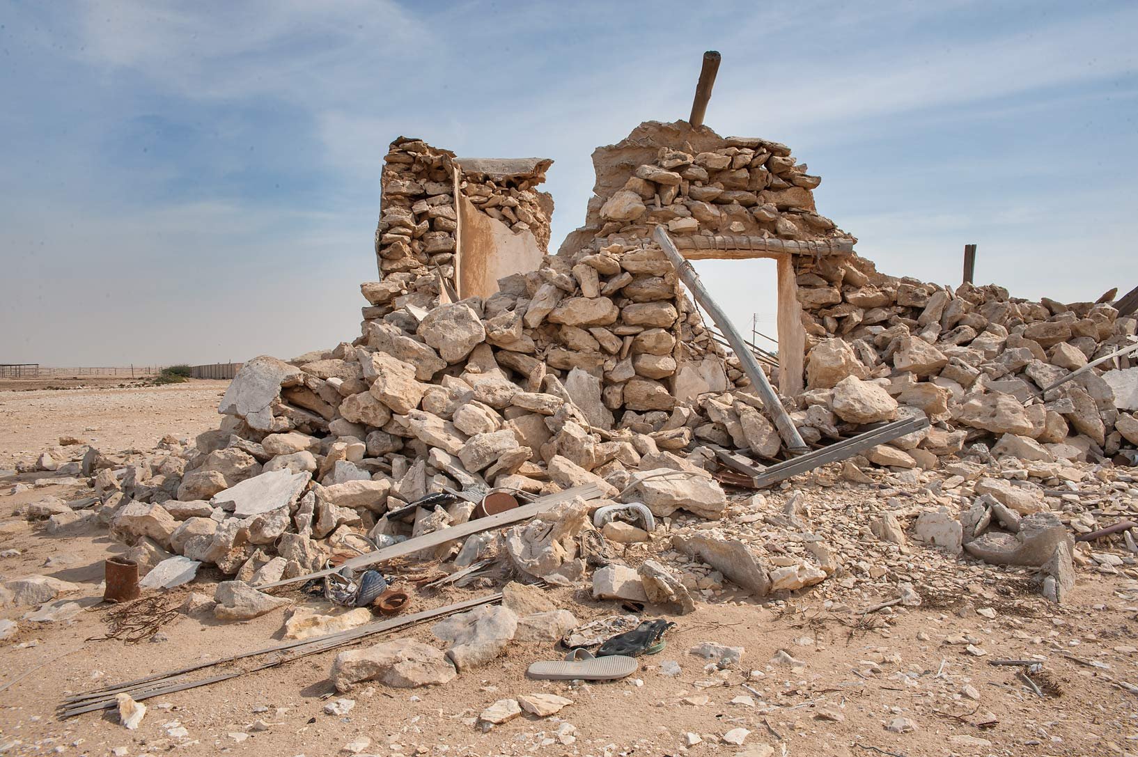 Stone ruins of Al Suwaihliya in north-western Qatar